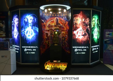 Bangkok, Thailand - April 28, 2018: The Model of Thanos Mighty Glove Infinity Gauntlet at The Standee of Marvel Superhero Movie Avengers 3: Infinity War Displays at the Theater