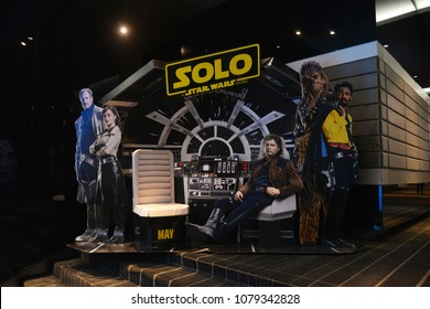 Bangkok, Thailand - April 28, 2018: Beautiful Standee of The Sci-Fi Movie Han Solo A Star Wars Story at the Theater.