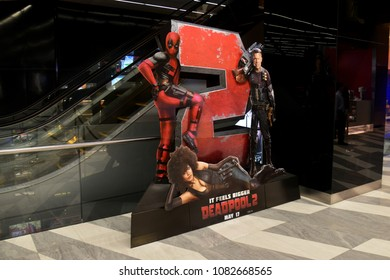 Bangkok, Thailand - April 28, 2018: Standee of Marvel Hero Deadpool 2 display at the theater