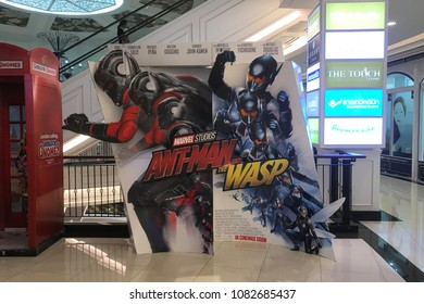 Bangkok, Thailand - April 28, 2018: Standee of A Marvel Superhero Movie Ant-Man 2 and the Wasp displays at the theater