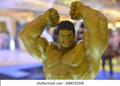 Bangkok, Thailand - April 28, 2018: Mini Model Hulk from A Marvel Superhero Movie Avengers 3: Infinity War Displays at the Theater