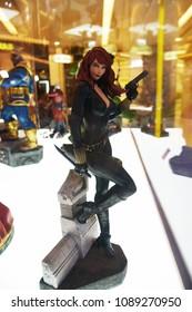 Bangkok, Thailand - April 28, 2018: Mini Model Comic Black Widow (Natasha Romanoff) Model from A Marvel Superhero Movie Avengers 3: Infinity War Displays at the Theater