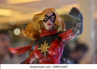 Bangkok, Thailand - April 28, 2018: Mini Model Comic Captain Marvel or Carol Danvers (Brie Larson) from A Marvel Superhero Movie Avengers at the Theater
