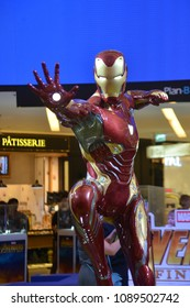 Bangkok, Thailand - April 28, 2018: The Human Size Ironman Model from A Marvel Superhero Movie Avengers 3: Infinity War Displays at the Theater