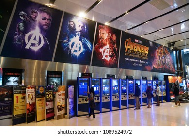 Bangkok, Thailand - April 28, 2018: The Big Poster of Marvel Superhero Movie Avengers 3: Infinity War Displays at the Theater