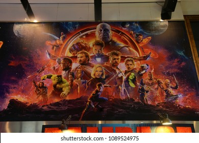 Bangkok, Thailand - April 28, 2018: The Big Poster of Marvel Superhero Movie Avengers 3: Infinity War Displays at the Theater