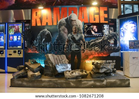 Bangkok, Thailand - April 28, 2018: Standee of The Movie Rampage displays at the theater