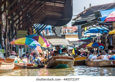 Bangkok, Thailand - April 28th 2016 - Local and tourists enjoying the famous floating market in the suburbs of Bangkok, Thailand's capital.