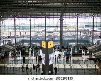 BANGKOK, THAILAND - April 29, 2018 : High angle view and Passengers walking in Suvarnabhumi Airport
