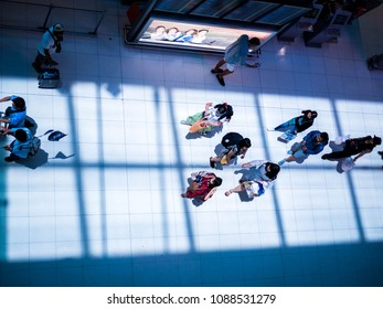 BANGKOK, THAILAND - April 29, 2018 : High angle view of Passengers in an airport