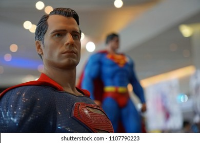 Bangkok Thailand - April 29, 2018: Figure model superhero character of Superman from DC movies, Realistic actor Henry Cavill, Toy exhibition show