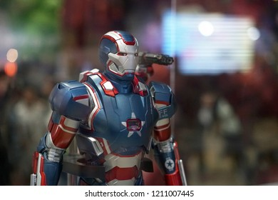 Bangkok Thailand - April 29, 2018: Action figure model Iron patriot character from Marvel movies, Toy collections in exhibition show