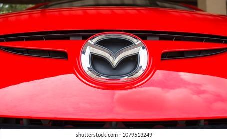 Bangkok, Thailand - April 29, 2018:Mazda logo.