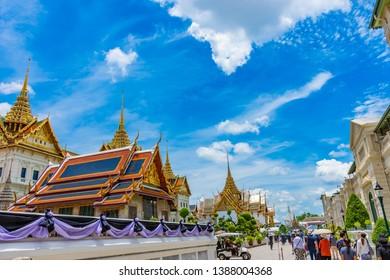 Bangkok, Thailand, April 29 2019. Tourists visiting the Grand palace and Wat phra keaw in Bangkok, Thailand