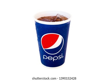 Bangkok, Thailand - April 29, 2019 : Pepsi, soft drink Quench thirst in the summer Is popular with people around the world