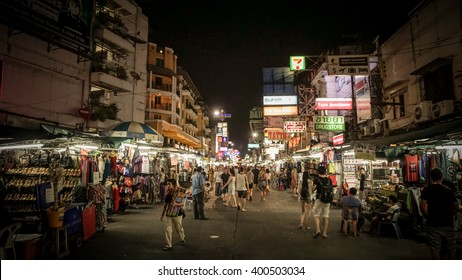 BANGKOK, THAILAND - APRIL 3 , 2016 : Khao san Road is a short street in central Bangkok,