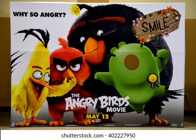 Bangkok, Thailand, April 3, 2016: Beautiful The Angry Birds Movie Standee at SF Cinema Central Chaengwattana Shopping Center