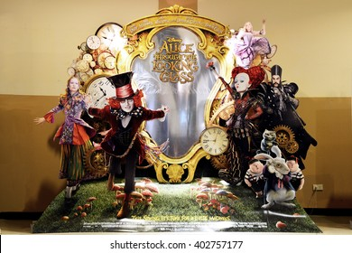 Bangkok, Thailand, April 3, 2016: Beautiful Alice Through the Looking Glass Movie Standee at SF Cinema Central Chaengwattana Shopping Center