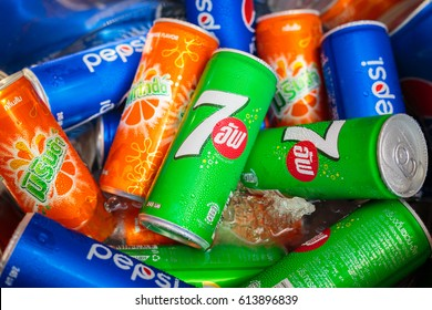 Bangkok, Thailand - April, 3, 2017: The types of soft drink 7 up, Mirinda, pepsi and sparkling water in ice