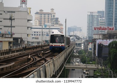 Bangkok, Thailand - April 30, 2015: The Bangkok Mass Transit System, known as BTS or Skytrain, is an elevated rapid transit system in Bangkok. The system consists of 35 stations along two lines.