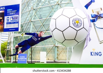 BANGKOK, THAILAND -April 30, 2016: Kasper Schmeichel, Leicester City players is presenters of King Power which show in front of King Power Complex, Thailand.
