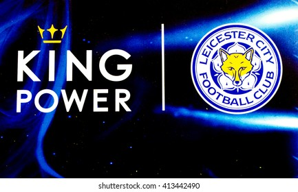 BANGKOK, THAILAND -April 30, 2016: the logo of Leicester City football club on the billboard at King Power Complex, Thailand.