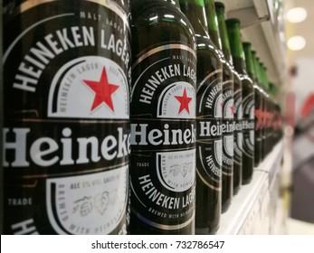 Bangkok, Thailand - April 30, 2017: Heineken beer global brand. Heineken Lager (blur effect from camera)