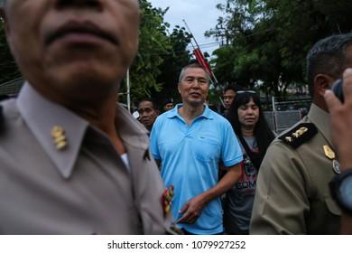 Bangkok, Thailand - April 30, 2018: Somyot Prueksakasemsuk (blue shirt) released from Bangkok Remand Prison after serving seven years in jail for lese majeste and defamation.