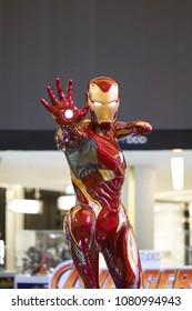 Bangkok, Thailand - April 30, 2018 : A photo of Iron man real-life size figure on display. Iron man is a 2008 American super hero film created by Marvel studios. Editorial use only.