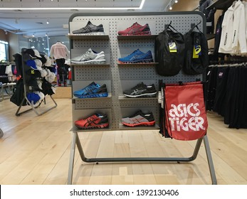 Bangkok, Thailand. April 30, 2019 - asics sports shoes in asics shop. asics is Japanese sportswear and footwear brand.
