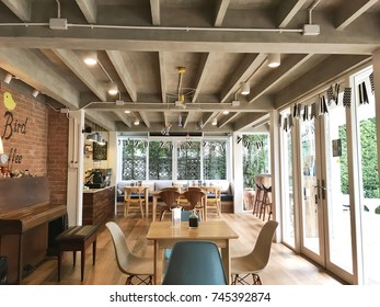 Bangkok, Thailand - April 4, 2017: Early bird gets cafe serves fresh roasted coffee, fusion food and homemade bakery. This cozy cafe decoration makes the customer feel like home.