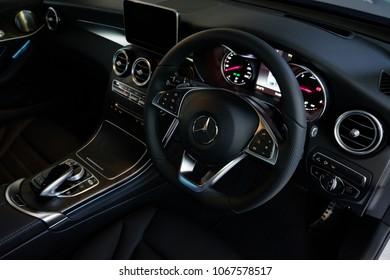 Bangkok, Thailand - APRIL 4, 2018 : Interior of Mercedes-Benz C class Coupe AMG Edition
