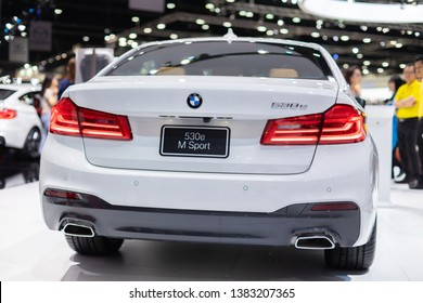 Bangkok, Thailand - April 4, 2019: BMW 530e M, Sport Electric Vehicle (Electric Car) Showcase at 40th Bangkok International Motor Show 2019, IMPACT Muang Thong Thani.