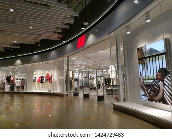 Bangkok, Thailand - April 4,2019 : H&M store front in department store. Hannes&Mauritz AB (H&M) is a Swedish multinational clothing-retail company.