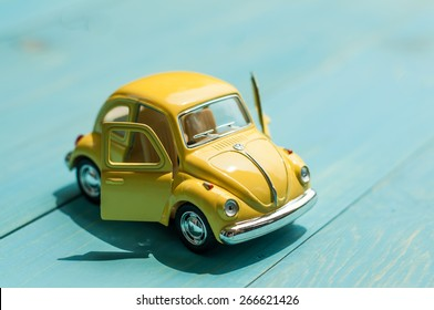 BANGKOK, THAILAND -april 5, 2015: Collectible toy model car Volkswagen Beetle.
