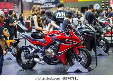 Bangkok THAILAND::- April 6, 2017 : Red Motorcycle Ducati Monster at Bangkok International Motor Show 2017 - MONGTHONG THANI  in Bangkok, Thailand