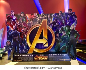 Bangkok, Thailand - April 6, 2018: View of standee Avengers: Infinity War movie, a Marvel superhero movie, poster with front of the theater in Bangkok, Thailand.