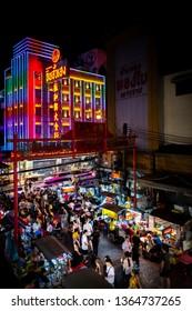 Bangkok, Thailand - April 6, 2019: Colorful night market of Yaowarat Road in Bangkok's Chinatown. Once of Bangkok landmark and important street for more foods very delicious.