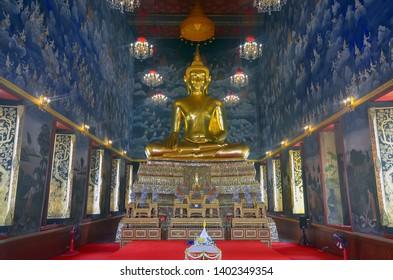 Bangkok, Thailand - April 6, 2019: Interior view of the Wat Devaraj Kunchorn Worawihan.
