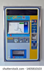 Bangkok, Thailand - April 6, 2019: One of the two new models of the BTS Skytrain ticket machines with a touchscreen. Thiis model accepts banknotes.