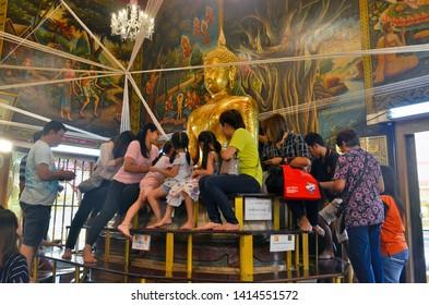 Bangkok, Thailand - April 6, 2019: Wat Bang Phli Yai Nai at Bang Phli Floating Market in Samut Prakan.