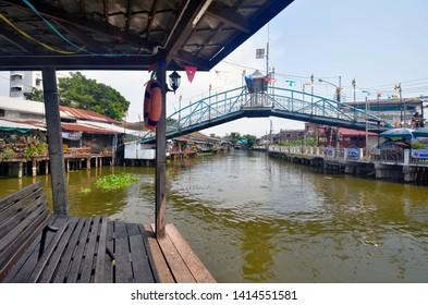 Bangkok, Thailand - April 6, 2019: Bang Phli Floating Market, an old market along a klong in Samut Prakan.