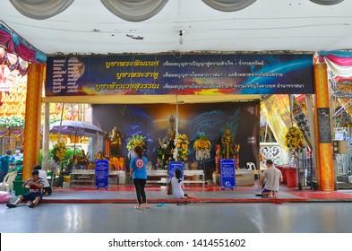 Bangkok, Thailand - April 6, 2019: Religious altar at Bang Phli Floating Market, an old market along a klong in Samut Prakan.