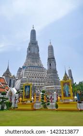 Bangkok, Thailand - April 6, 2019: Ensemble view of the Wat Arun, the Temple of Dawn.