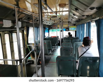 Bangkok, Thailand - April 6, 2020 : keep spaced between each chairs make separate for social distancing to avoid virus Covid-19 on bus public in Bangkok city, Thailand.