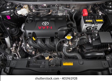 BANGKOK, THAILAND - April 7, 2016: Engine of  New Vios with VVT-I Technology. VVT-I is a brand name of technologies developed by TOYOTA which increase fuel efficiency and engine output.