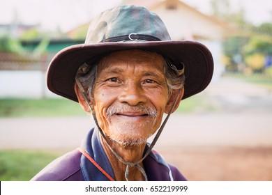 Bangkok, Thailand - April 7, 2017 : Close up portrait Thai farmer with smile at Bangkok, Thailand