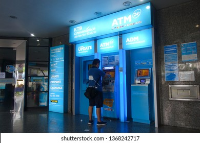 Bangkok, Thailand - April 7, 2019 : View of ATM (automated teller machines) belonging to Krungthai Bank at National Stadium Station