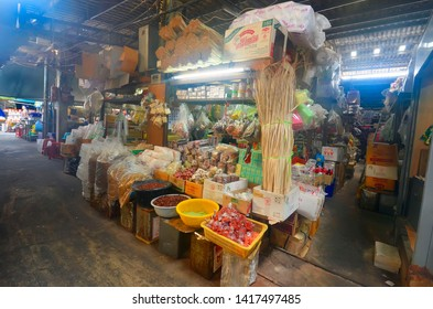Bangkok, Thailand - April 7, 2019 : Hua Takhe Old Market, a traditional Thai market along a klong with a fresh market and a bazaar in Lat Krabang district, Samut Prakan province.