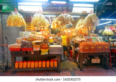 Bangkok, Thailand - April 7, 2019: Grocery store in Old Market near Yaowarat Road in Chinatown.